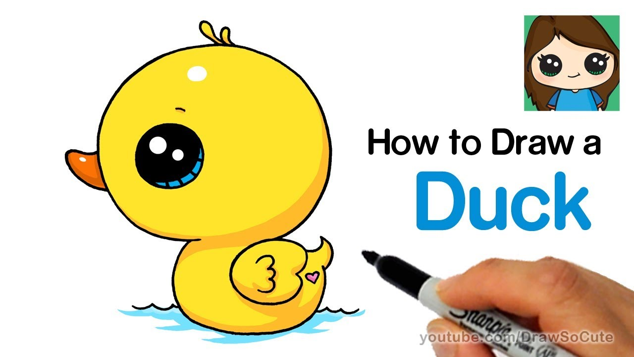How to draw a. Duckling clipart simple
