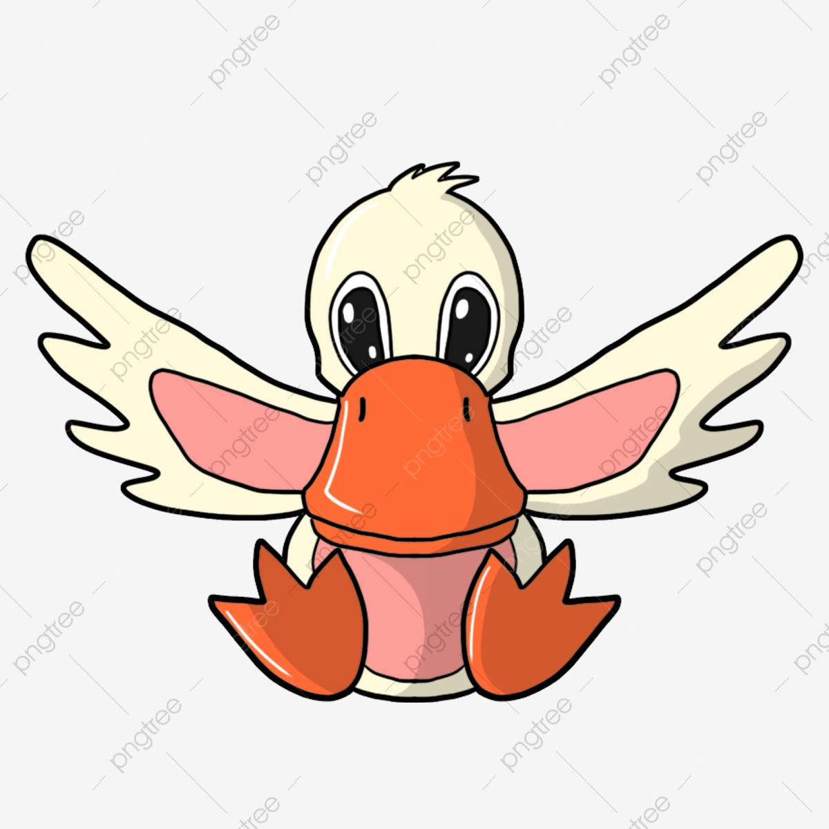 Flapping its wings light. Duckling clipart wing