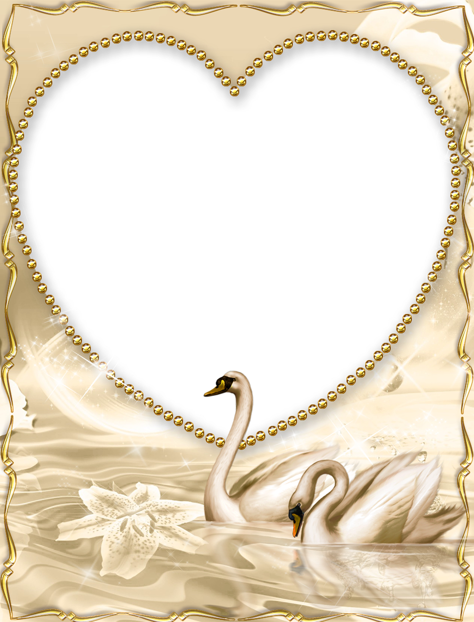 Golden png frame with. Ducks clipart beautiful
