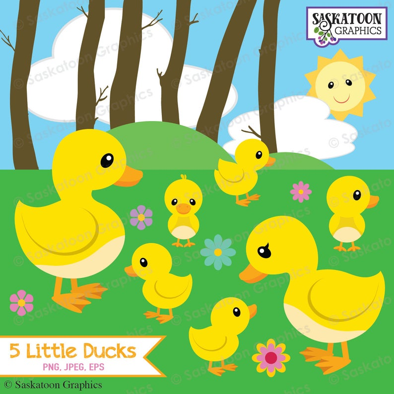 Ducks clipart five. Little went out to