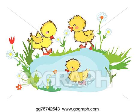 Vector art funny in. Ducks clipart pond drawing