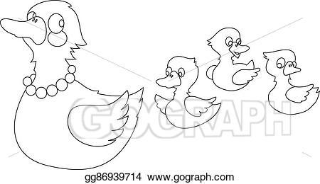 Ducks clipart three duck. Vector art mother with