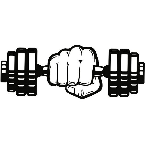 Hand weightlifting bodybuilding fitness. Dumbbell clipart