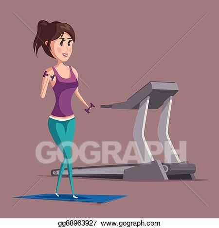 Vector woman or girl. Dumbbell clipart aerobic exercise