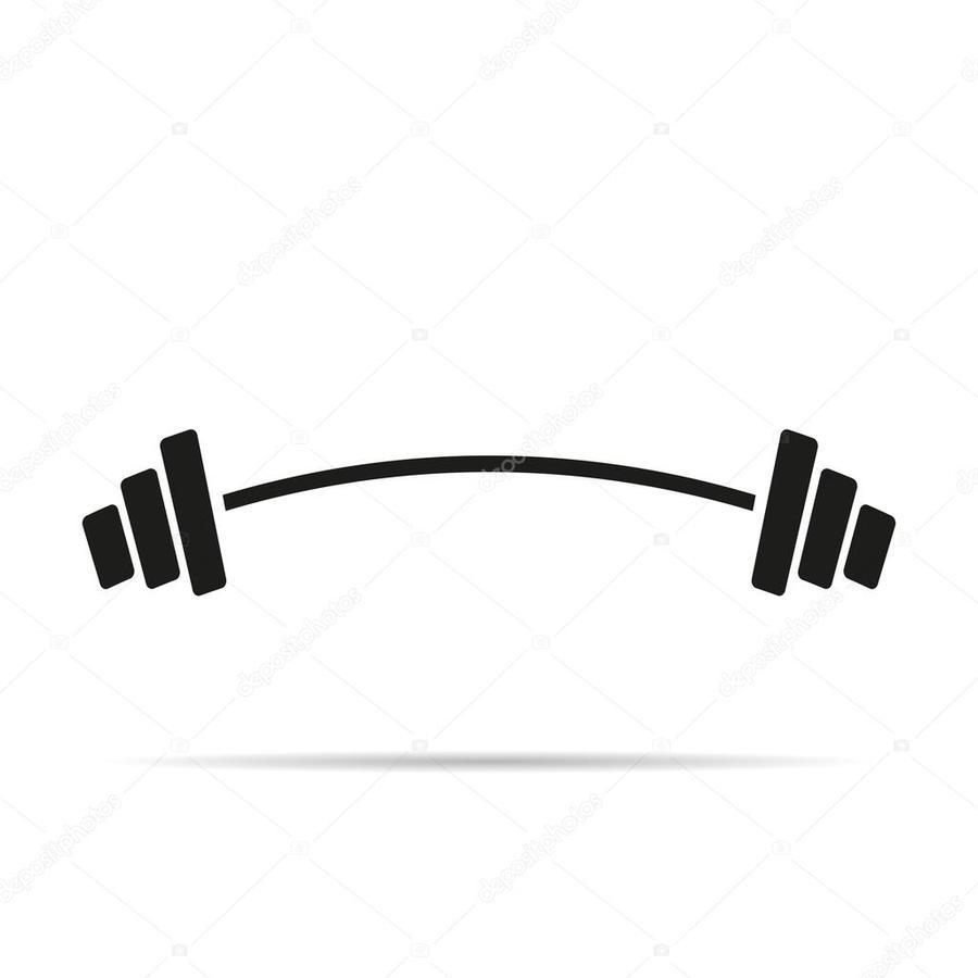Dumbbell clipart bent. Barbell exercise illustration black