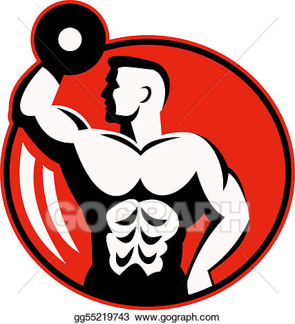 Dumbbells clipart body building. Stock illustration human figure