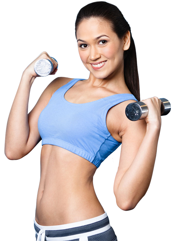 Sport woman smiling happy. Dumbbell clipart female fitness