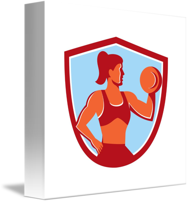 Dumbbell clipart female fitness. Lifting shield retro by