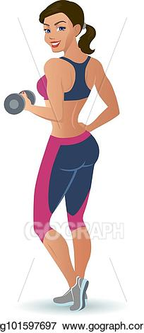 Eps illustration woman doing. Dumbbell clipart female fitness