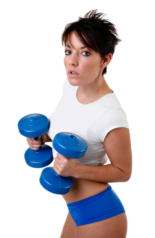 Dumbbell clipart female fitness. Young woman exercises with