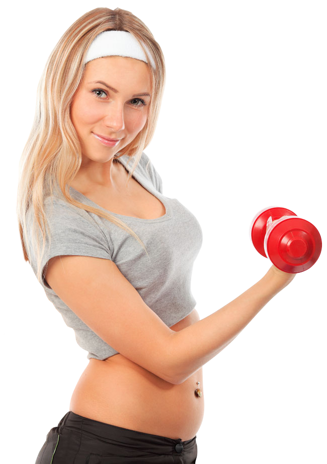 Young girl working out. Dumbbell clipart female fitness