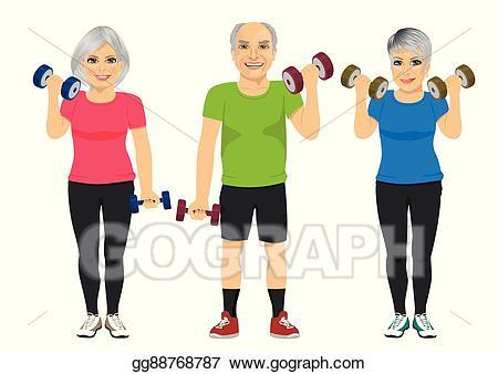 Vector illustration of senior. Dumbbell clipart group fitness