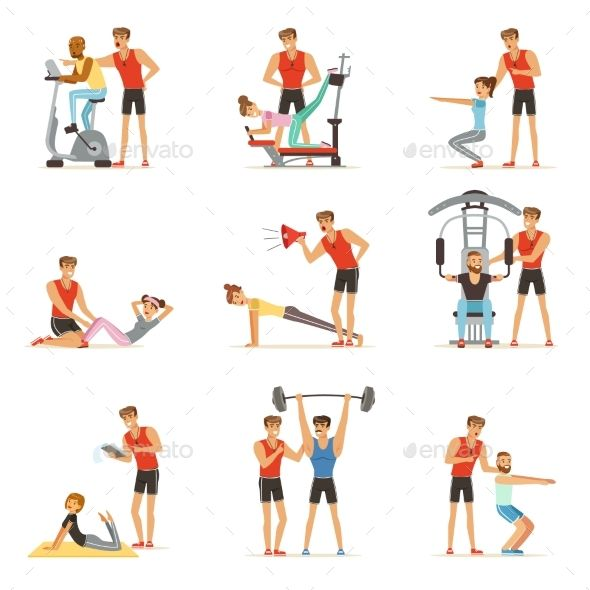 Dumbbell clipart gym coach. Personal trainer or instructor