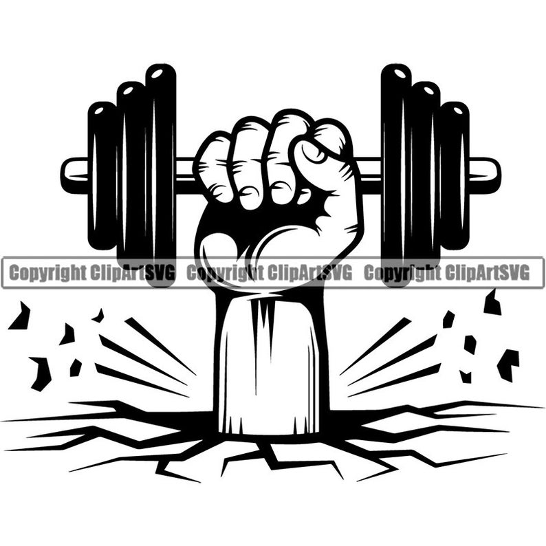 Bodybuilding logo weight plate. Dumbbell clipart hand holding