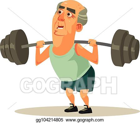 Vector happy smiling grandpa. Dumbbell clipart healthy