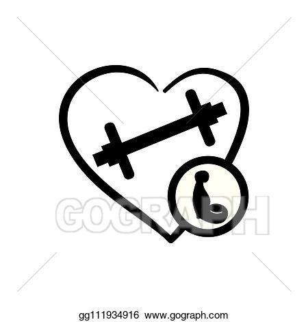 Dumbbell clipart heart. Vector art with weight