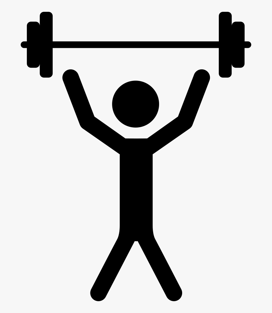 Man with raised arms. Dumbbell clipart lift weight