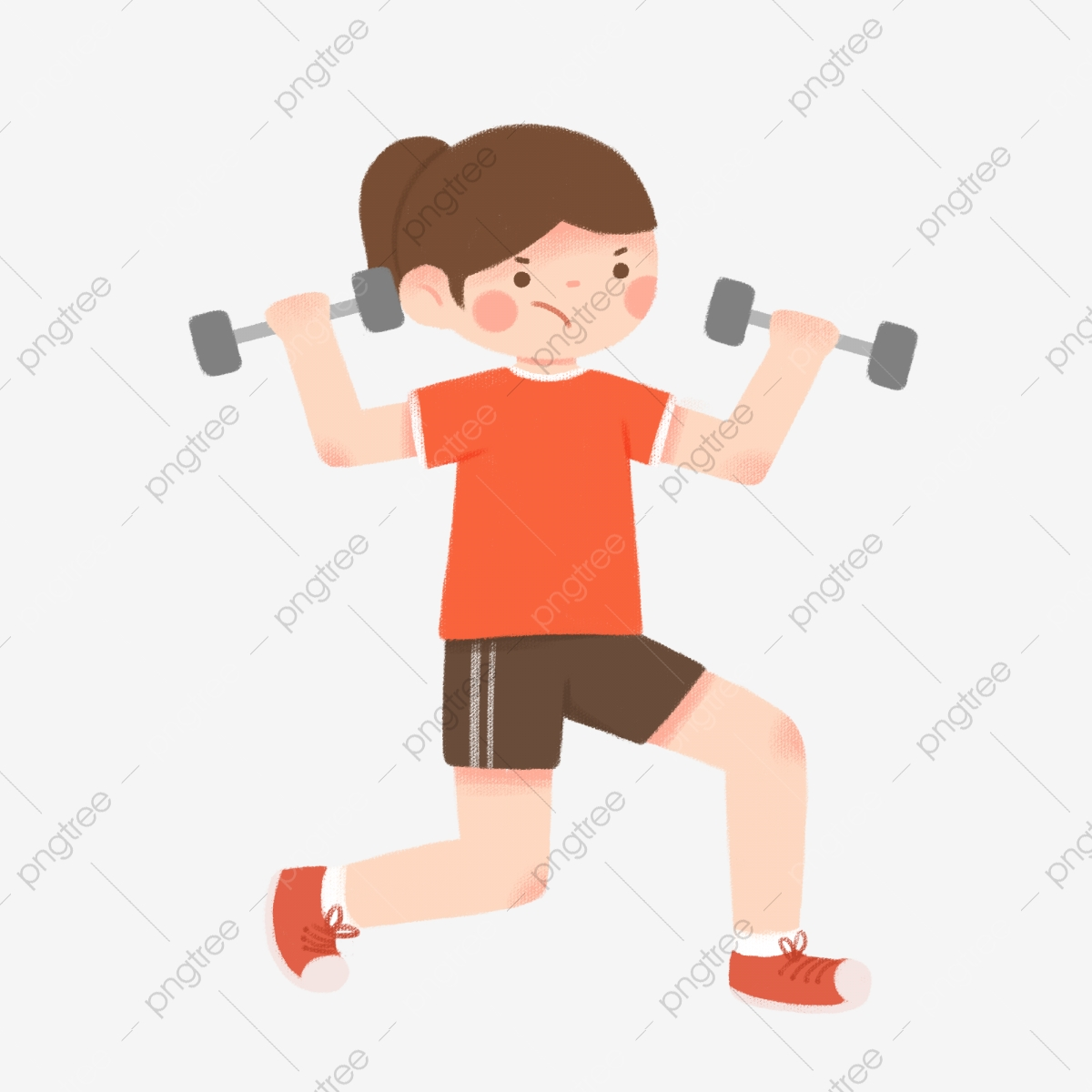 Dumbbells clipart exercise plan. Lifting dumbbell girl workout