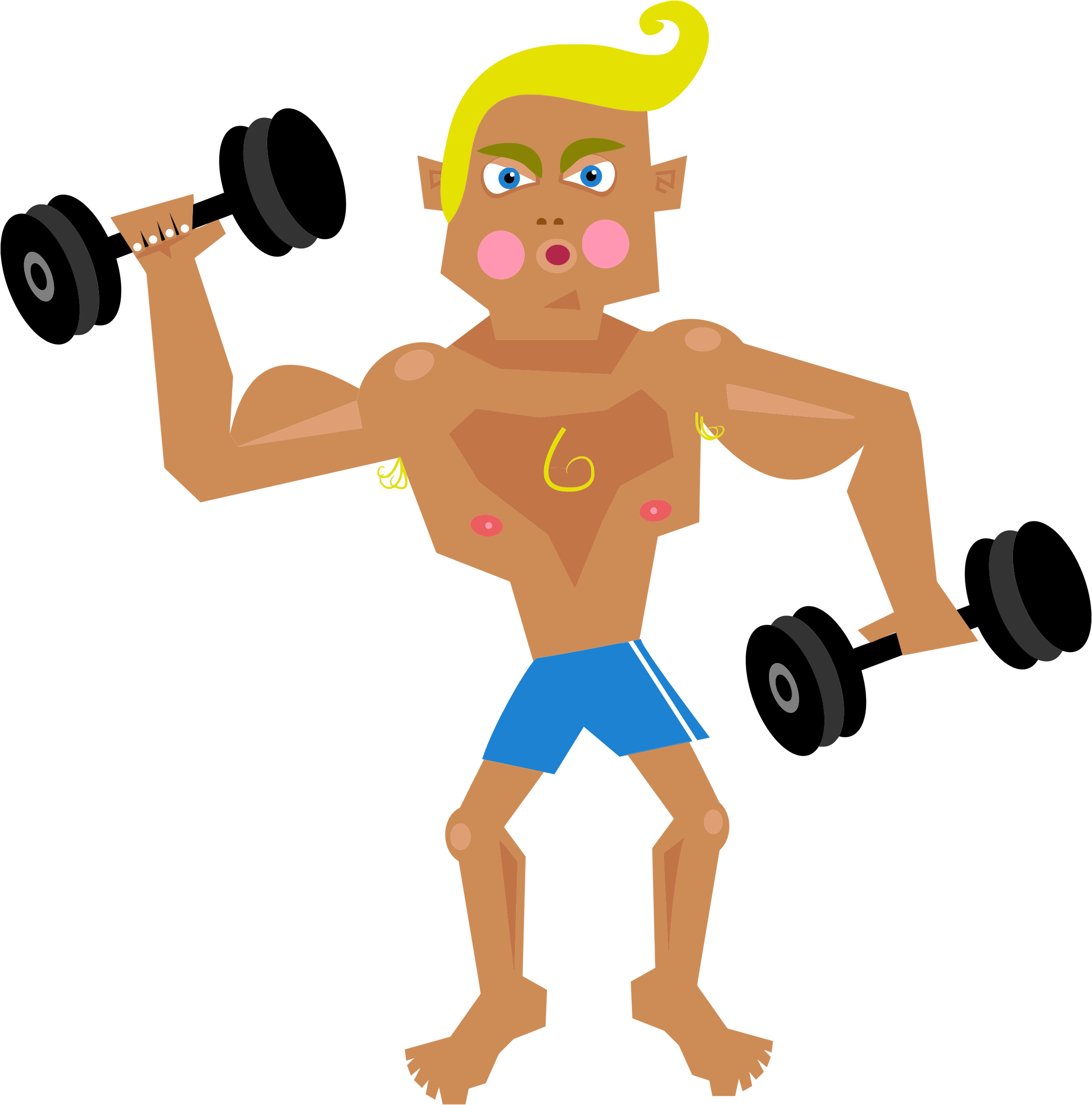 Dumbbell clipart muscular force. Muscle man big image
