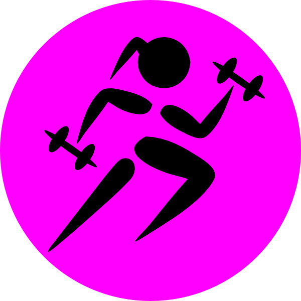 Strong running girl clip. Female clipart barbell