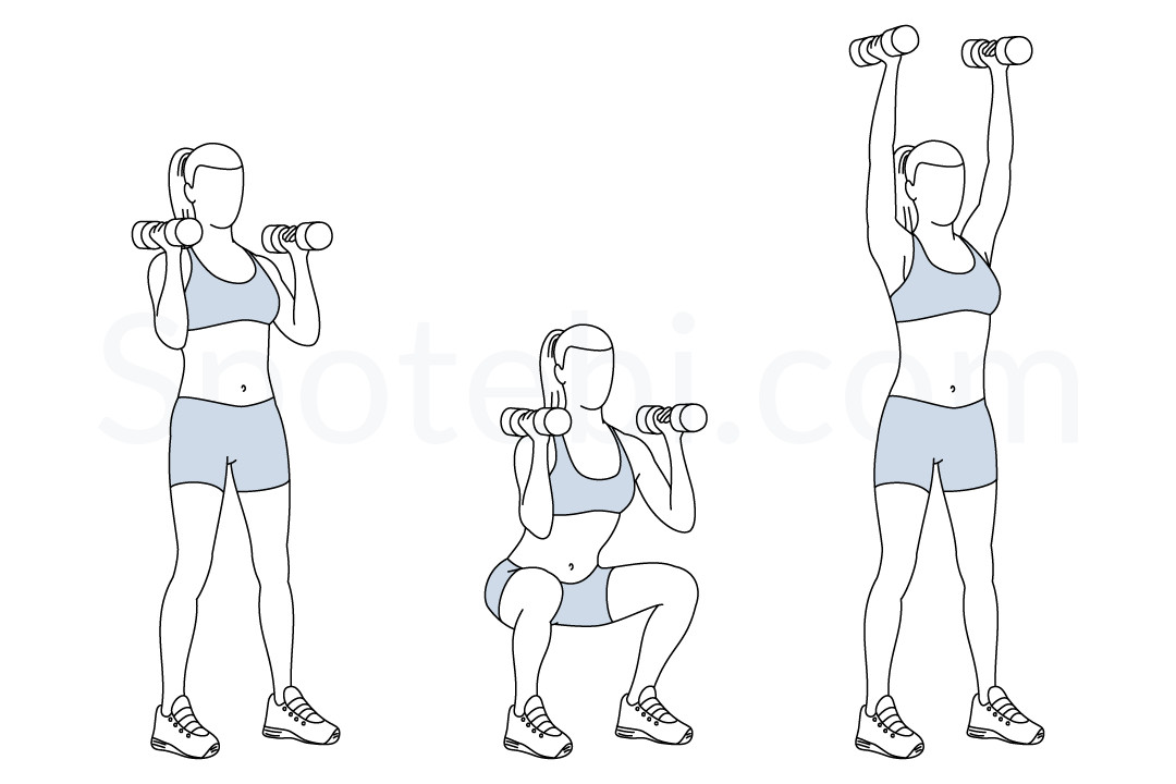 Thrusters illustrated exercise guide. Dumbbell clipart squat