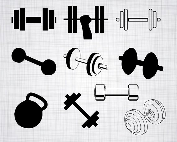 Dumbbell clipart weight lifting. Svg bundle cut files