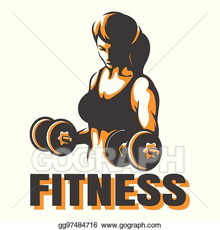 Dumbbells clipart fitness training. Vector woman with