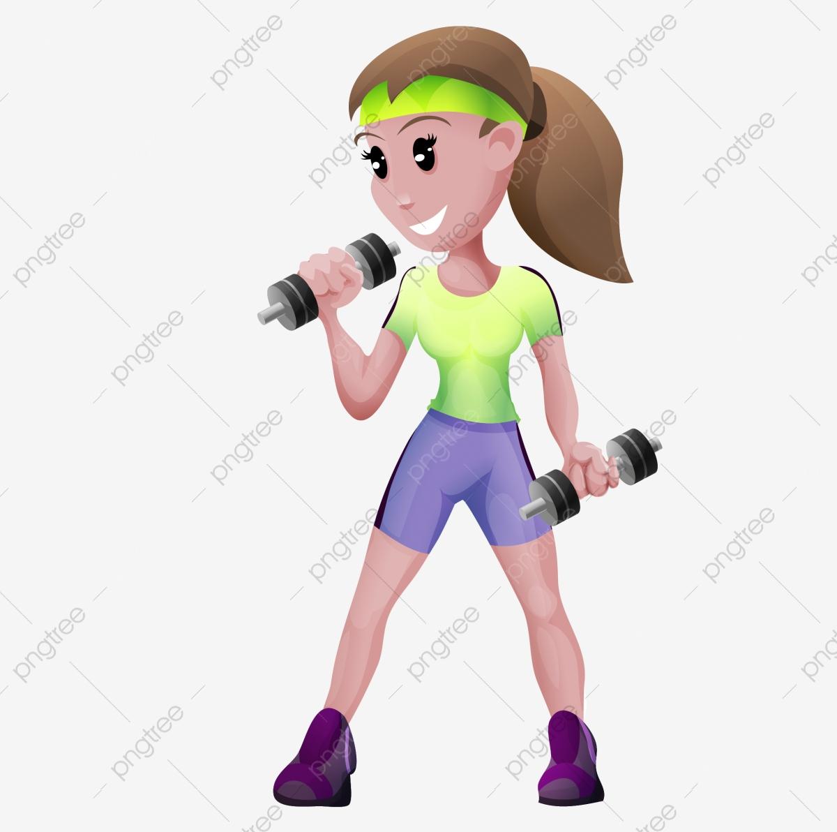 Motion equipment gym girl. Dumbbell clipart woman fitness