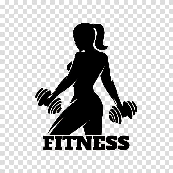 Woman holding logo physical. Dumbbells clipart fitness center