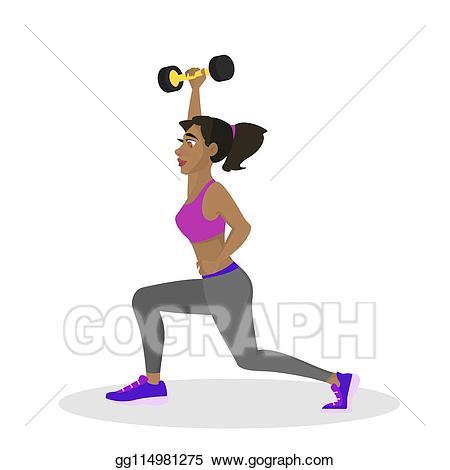 Eps vector woman making. Dumbbell clipart women's fitness