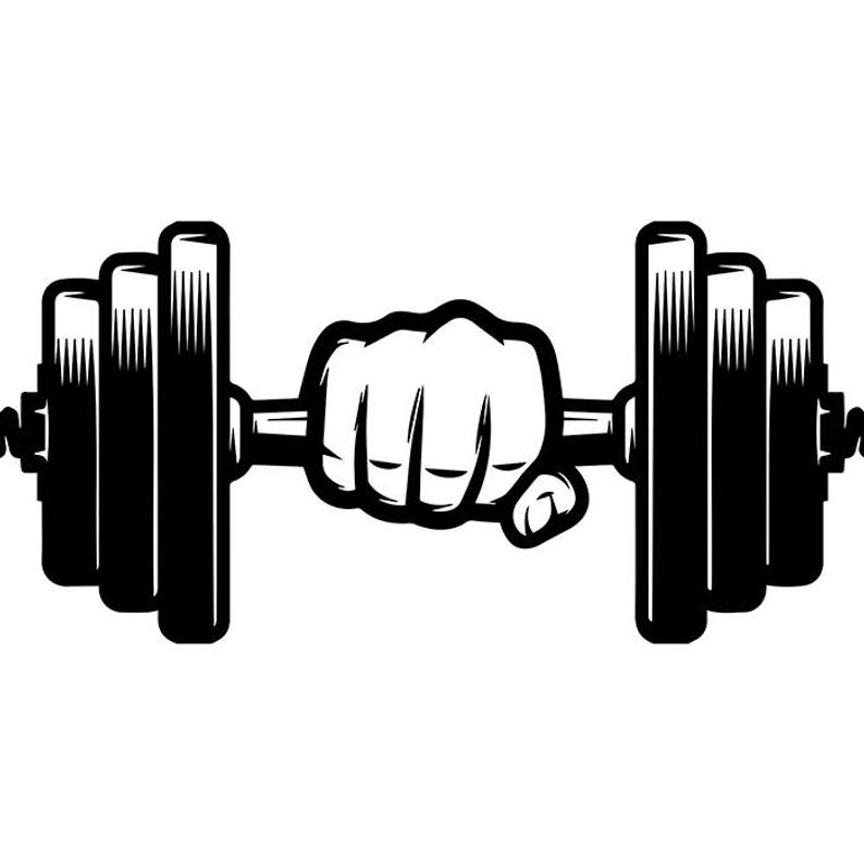Dumbbell hand weightlifting bodybuilding. Dumbbells clipart body building