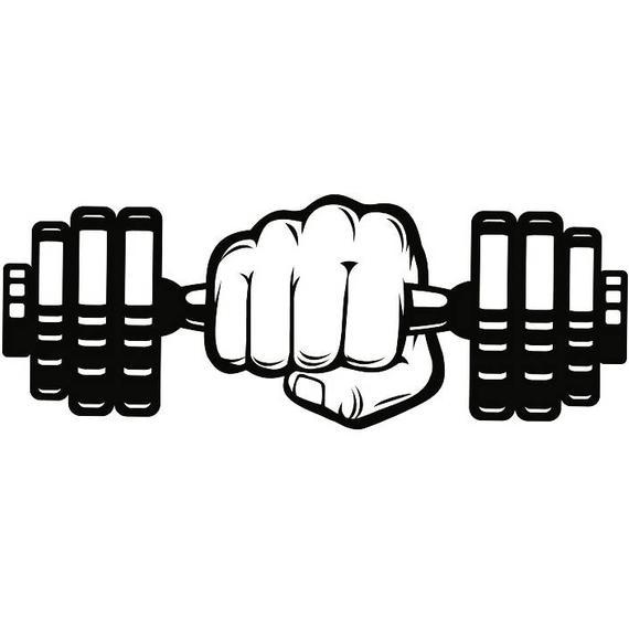Dumbbell hand weightlifting bodybuilding. Dumbbells clipart fitness program