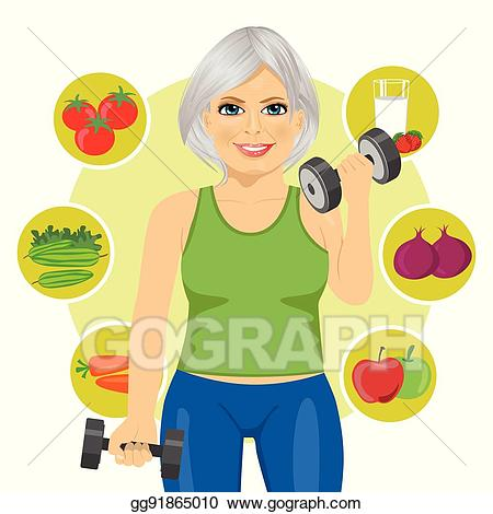 Eps illustration elderly woman. Dumbbells clipart healthy