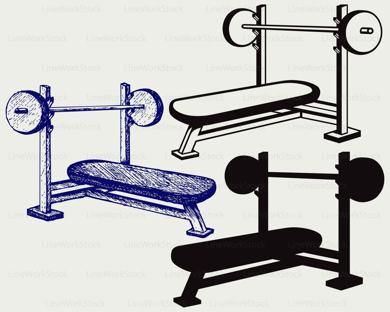 Dumbbells clipart weight bench. Svg press dumbbell silhouette