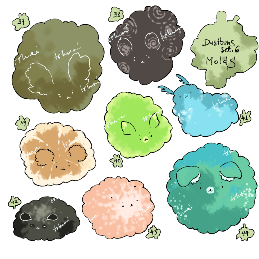 Dust clipart dust bunny. Adoptables set price bunnies