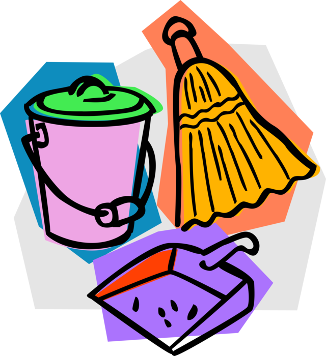 Dust clipart dust pan broom. With dustpan vector image