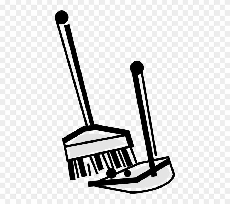 Cleaning drawing broom and. Dust clipart dustpan brush