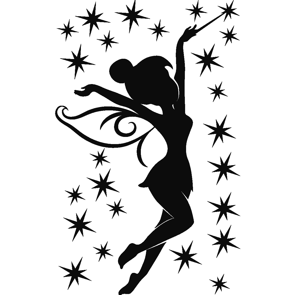Silhouette think love pinterest. Tinkerbell clipart black and white