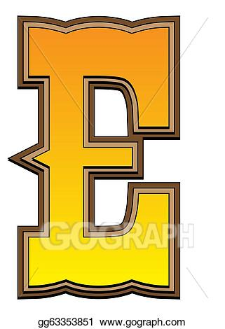 Stock illustration western letter. E clipart alphabet e
