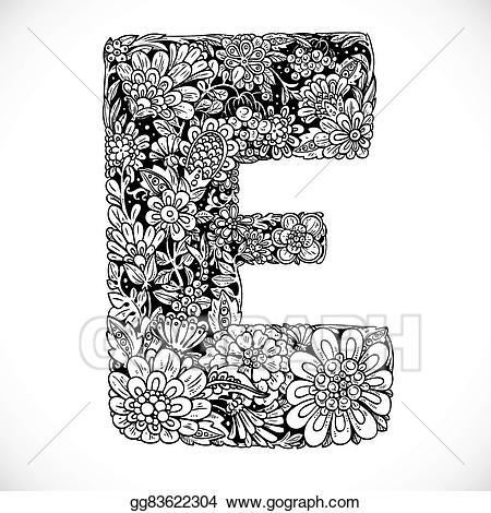 Vector illustration doodles font. E clipart black letter