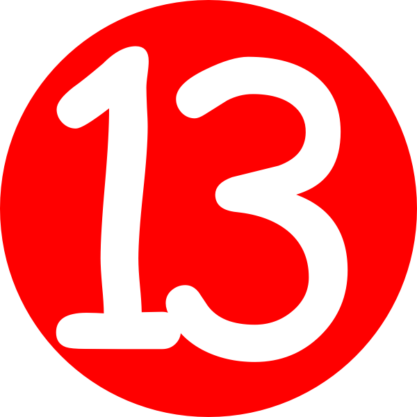 Red rounded with number. E clipart bling