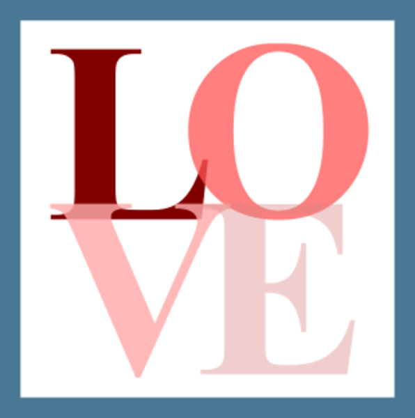 And pink love icon. E clipart blue letter