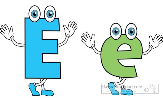 Letter upper lower case. E clipart cartoon alphabet