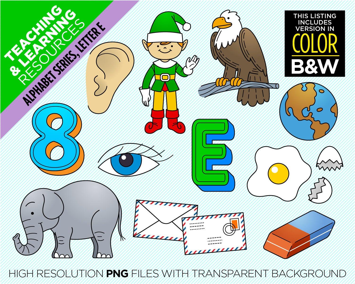 E clipart cartoon alphabet. Letter beginning sound images