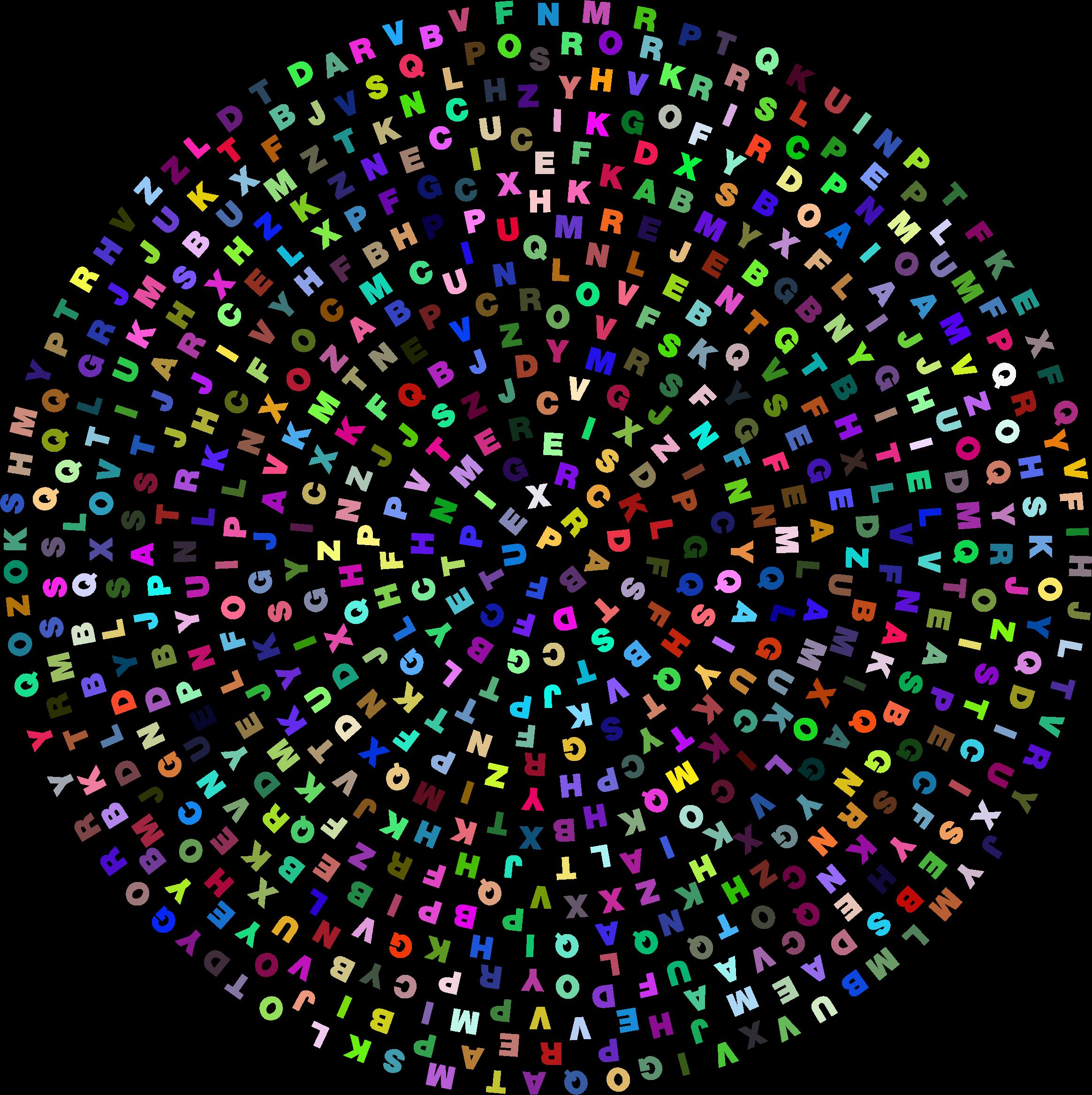 E clipart circle. Random alphabet prismatic big