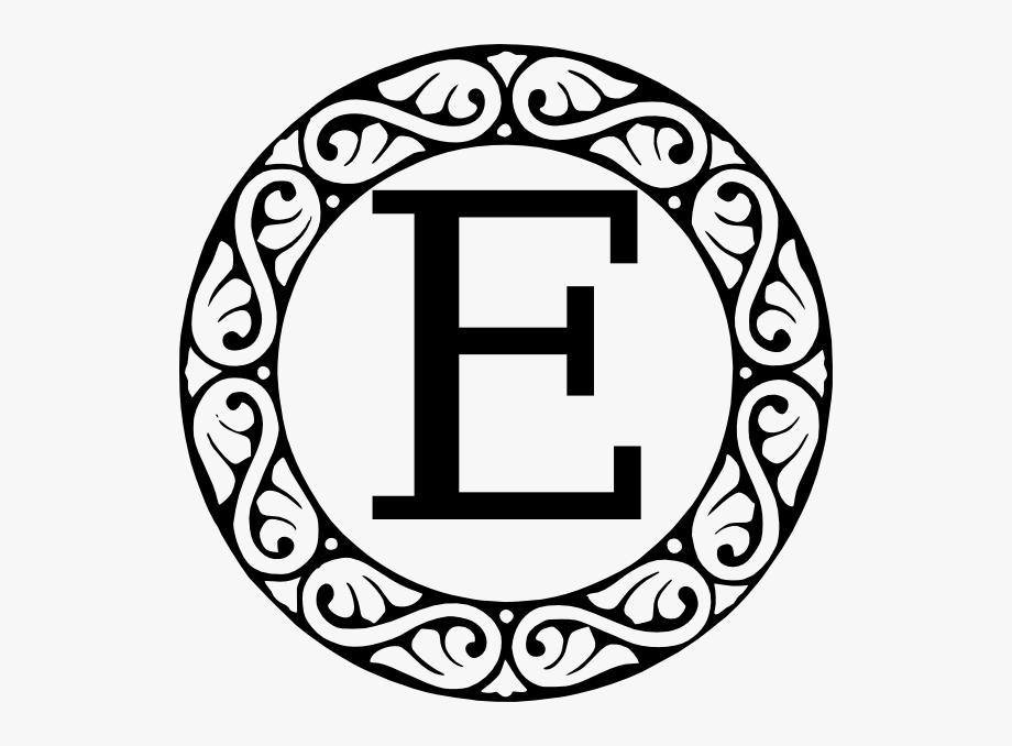 E clipart circle. Monogram letter clip art