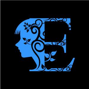 E clipart design alphabet. Graphic of flower blue