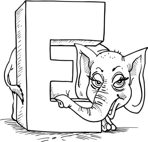 Letter is for free. E clipart elephant coloring page
