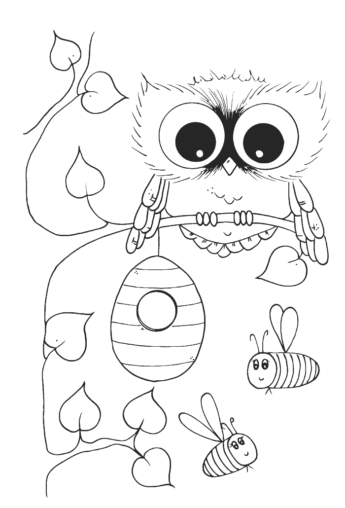 Cute owl with bees. E clipart elephant coloring page
