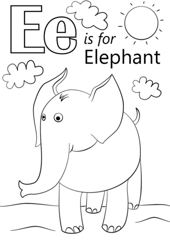 E clipart elephant coloring page. Letter is for free